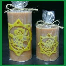 fancy big yellow etched led christmas candle custom battery