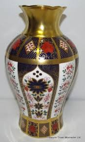 royal crown derby old imari solid gold band arum lily vase