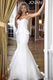 simple sweetheart neck white peplum skirt satin mermaid wedding gown