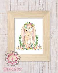 bunny rabbit woodland boho bohemian garden floral nursery baby