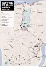 New Orleans Parade Routes Map by Rock U0027n U0027 Roll New Orleans Marathon Course Map Nola Com
