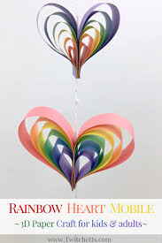 spinning rainbow heart mobile construction paper crafts for kids