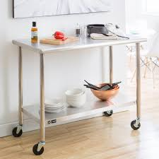 metal kitchen work table ecostorage 48 in nsf stainless steel table with wheels tls 0201c