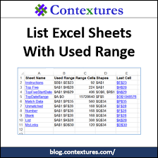 list all excel sheets with used range contextures blog