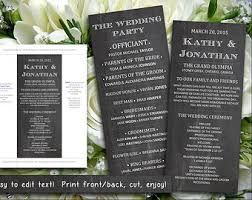 wedding program chalkboard chalkboard program etsy