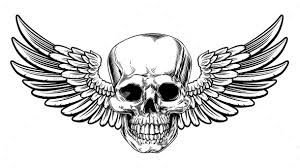 winged skull vintage woodcut etched style by krisdog graphicriver