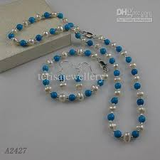 turquoise necklace set images 2018 nice pearl jewelry set aa 6 7mm white genuine freshwater jpg