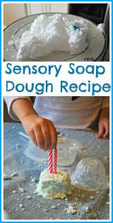 sensory play soap dough recipe mess for less