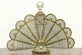 peacock fan sold peacock fan brass vintage folding fireplace screen harp