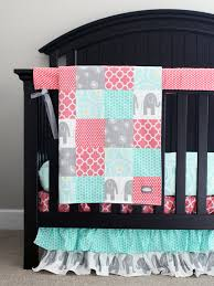 custom crib bedding baby bedding mint grey elephant and coral
