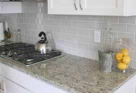 Interesting Kitchen Backsplash Gray Cabinets Countertop Idea O On - Gray backsplash tile
