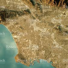 Map Los Angeles Los Angeles Topographic Map Natural Color Top View Stock Photo