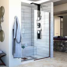 34 Shower Door Dreamline Linea 34 In X 72 In Semi Frameless Fixed Shower Door