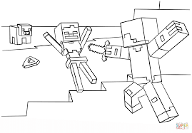 minecraft steve vs skeleton coloring page free printable