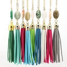 long gold tassel necklace images 2018 long gold chain tassel necklaces for women oval natural stone jpg