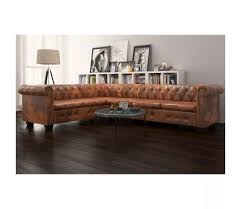 canapé d angle chesterfield acheter vidaxl canapé d angle chesterfield 6 places cuir artificiel