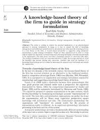 a knowledge based theory of the firm to guide strategy formulation
