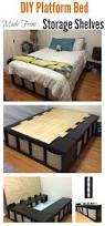 diy platform bed made from storage shelves