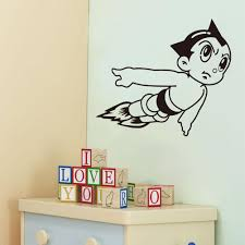 Childrens Bedroom Wall Hangings Vinyl Wall Art Stickers Astro Boy Cartoon Decals For Boys Room