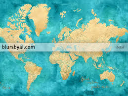 Printable World Map With Countries by Personalized World Map In Gold And Teal Highly Detailed With