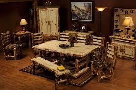 Log Dining Room Table Upholstered Aspen Log Dining Set Aspen Tables Minnesota Aspen