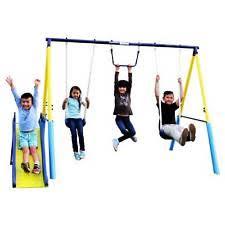 Flexible Flyer Backyard Swingin Fun Metal Swing Set Outdoor Swings Slides U0026 Gyms For Kids Ebay