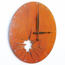 an awesome extra large metal modern wall clock shattered metal