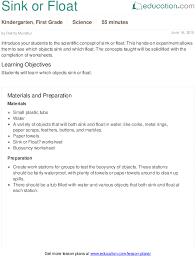 sink or float lesson plan education com
