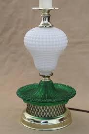 1960s vintage glass lamp milk glass table lamp w green colored