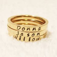 engraved stackable rings shop gold name rings personalized on wanelo
