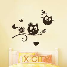 online get cheap childrens wall decals aliexpress com alibaba group cartoon owl lovers childrens decor kids vinyl sticker wall decal nursery baby room bedroom murals playroom