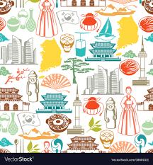 korean design korea seamless pattern korean traditional symbols vector image