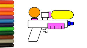 water gun coloring pages colored with colorful markers coloring