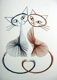 catsparella beautiful stitched cat greeting cards by boo teeq