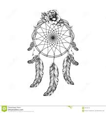 dream catcher with feathers leafs and rose in line art style