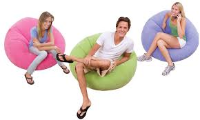 intex inflatable beanless bag chair in 3 colors