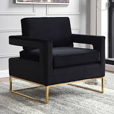 Black And Gold Accent Chair Meridian Furniture 511black Noah Accent Chair In Black Velvet On
