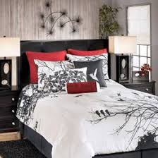King Sized Bed Set Black White Bird Motif The Bedspread Tn260