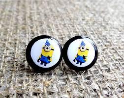 minion earrings minion stud earrings etsy