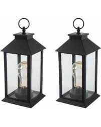 sale 11 in h battery operated black plastic lantern with