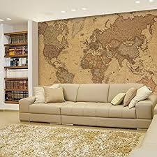Giant World Map Mural Neutral Wall Decoration 91 3 w x 62 2