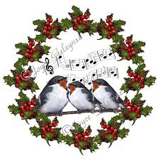 christmas clipart holly wreath with singing birds musical