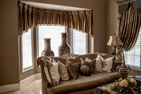 Living Room Window Treatment Ideas Window Treatment Living Room Brown Herringbone Shape Flower