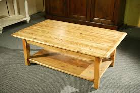 custom wood coffee tables with shelf and straight legs by small