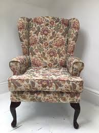 Antique Queen Anne Wing Back Chairs Vintage Wingback Chair With Queen Anne Legs In Didsbury