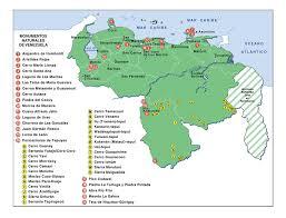 Imagenes Monumentos Naturales De Venezuela   mapa de venezuela monumentos naturales