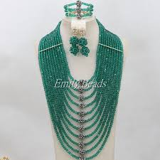 crystal bead necklace jewelry images Online shop teal green african crystal beads necklace jewelry set jpg
