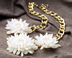 statement necklace with flower images Wholesale chic fashion big white flower statement necklace jpg
