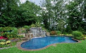 Waterfall Landscaping Ideas Backyard Pool Landscaping Ideas With Flower Beds And Waterfall