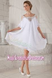 graduation dresses for high school shoulder beading half sleeves white prom dresses for graduation